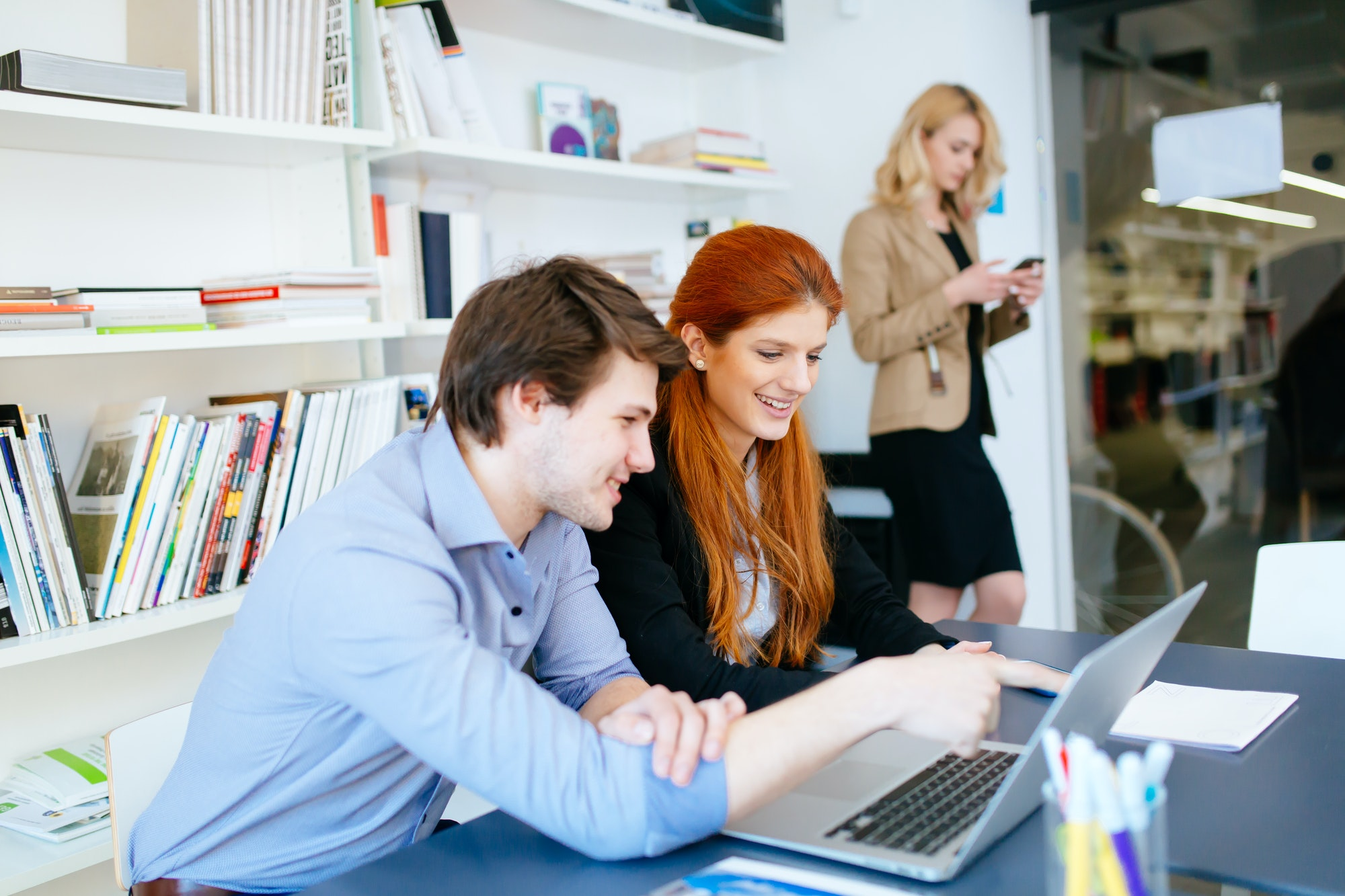 Business coworkers consulting in office